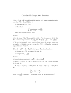 Calculus Challenge 2004 Solutions