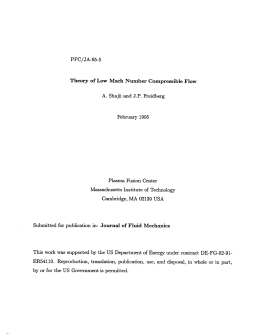 PFC/JA-95-5 Theory  of Low  Mach  Number Compressible ... A. 1995