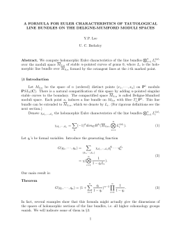 A FORMULA FOR EULER CHARACTERISTICS OF TAUTOLOGICAL Y.P. Lee