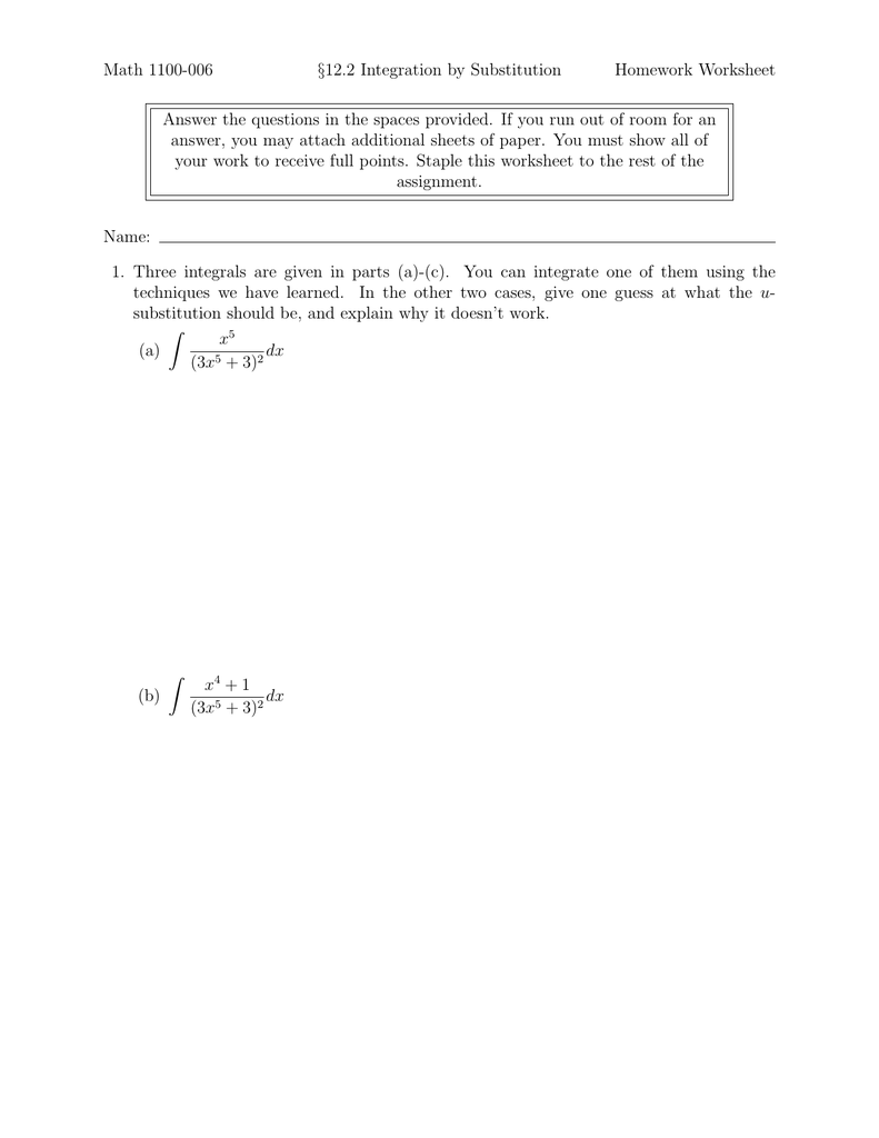 Worksheets U Substitution Worksheet 12 2 integration by substitution math 1100 006 homework worksheet worksheet