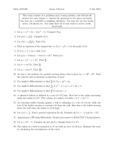 Math 1210-001 Exam 2 Review 8 July 2013