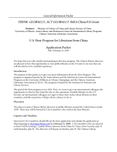 THINK  GLOBALLY, ACT GLOBALLY General Information Packet IMLS China/US Grant