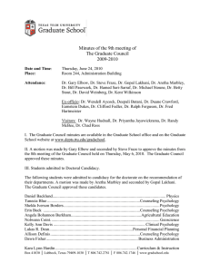 Minutes of the 9th meeting of The Graduate Council 2009-2010