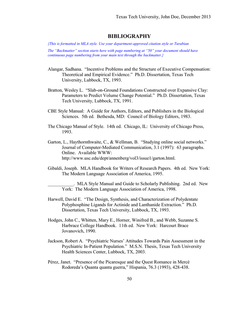 ttu dissertation format