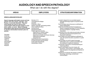 AUDIOLOGY AND SPEECH PATHOLOGY What can I do with this degree? EMPLOYERS AREAS