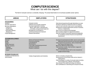COMPUTER SCIENCE What can I do with this degree?