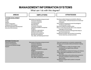 MANAGEMENT INFORMATION SYSTEMS What can I do with this degree? STRATEGIES AREAS