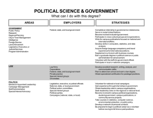 POLITICAL SCIENCE & GOVERNMENT What can I do with this degree? STRATEGIES AREAS