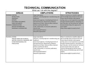 TECHNICAL COMMUNICATION AREAS STRATEGIES EMPLOYERS