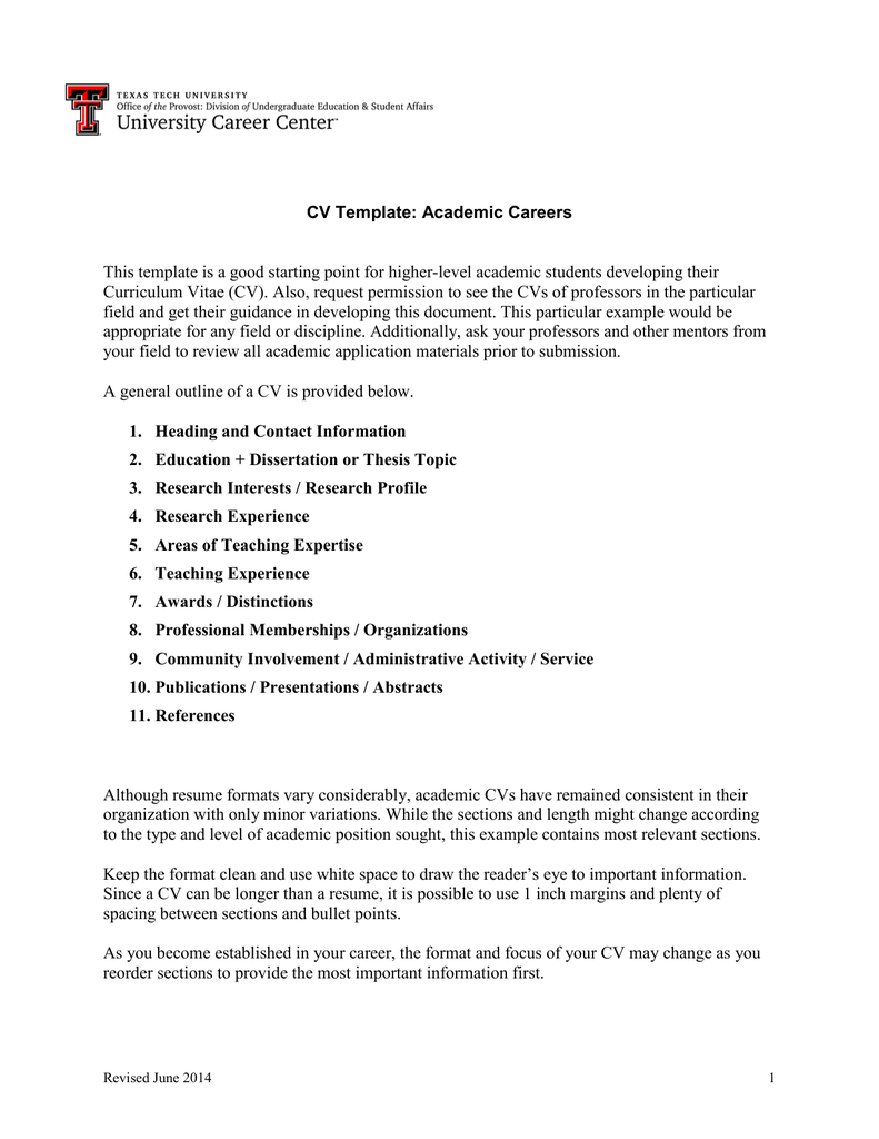 cv template academic careers