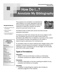 How Do I…? Annotate My Bibliography