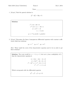 Math 2250 (Jason Underdown) Exam 2 July 3, 2014 Name