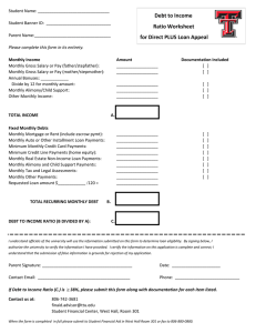 Debt to Income Ratio Worksheet