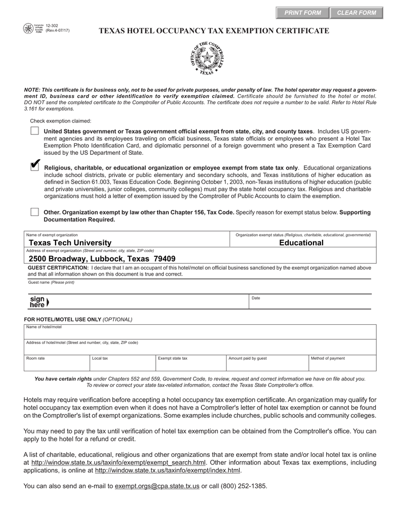 Texas hotel occupancy tax exemption certificate clear form print form 1betcityfo Image collections