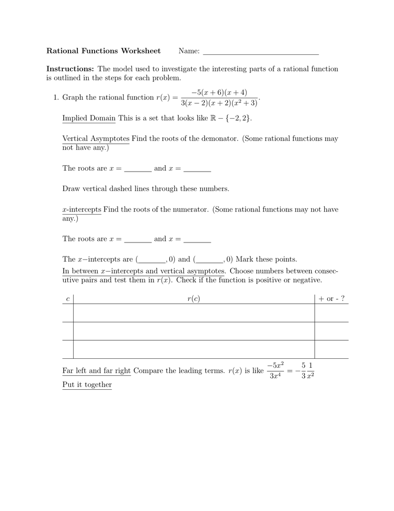 Rational Functions Worksheet Name