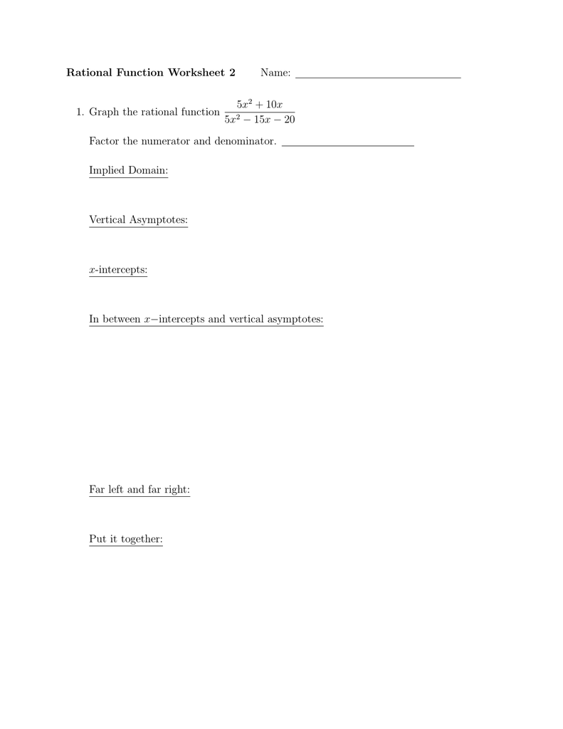 Rational Function Worksheet 2 Name 5x 10x
