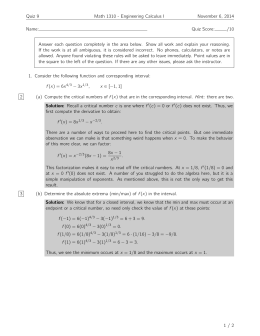 Quiz 9 Math 1310 - Engineering Calculus I November 6, 2014 Name: