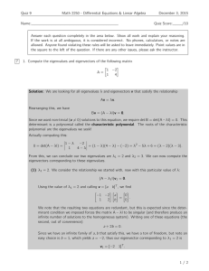 Quiz 9 Math 2250 - Differential Equations & Linear Algebra Name: