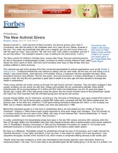 The New Activist Givers Philanthropy