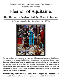 Eleanor of Aquitaine: A Presentation by Dr. Saba Bahouth, UCO.