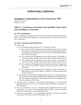 Authorizing Legislation Appendix  E Intelligence Authorization Act For Fiscal Year 1995