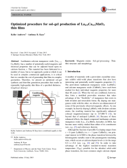 Optimized procedure for sol–gel production of La Ca MnO thin films