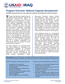 T Program Overview: National Capacity Development