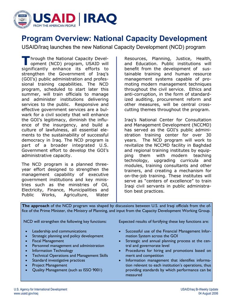 T Program Overview: National Capacity Development