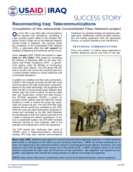 O Reconnecting Iraq: Telecommunications Completion of the nationwide Consolidated Fiber Network project