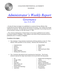 Administrator's Weekly Report Governance June 19-28, 2004