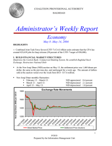 Administrator's Weekly Report Economy May 8 -May 14, 2004