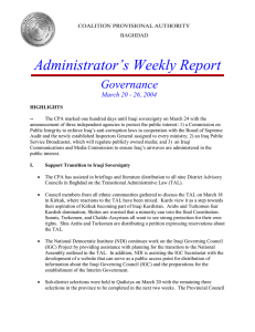 Administrator's Weekly Report  Governance March 20 - 26, 2004