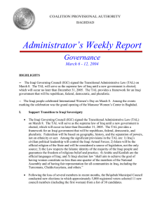 Administrator's Weekly Report Governance March 6 - 12, 2004
