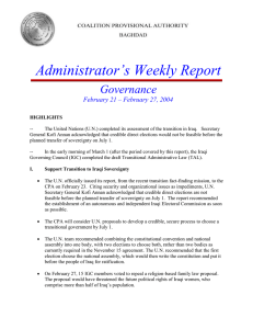 Administrator's Weekly Report Governance February 21 – February 27, 2004