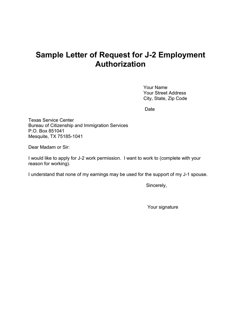 Sample letter of request for j 2 employment authorization spiritdancerdesigns Choice Image