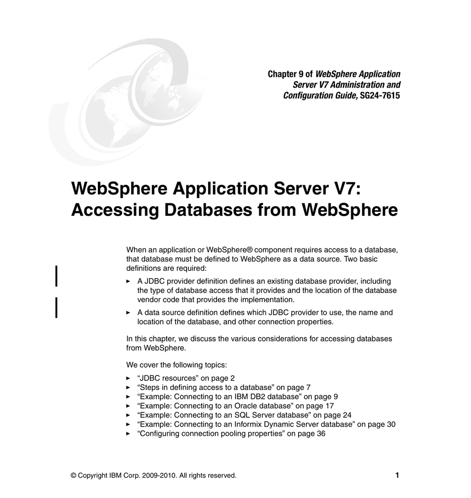WebSphere Application Server V7: Accessing Databases from