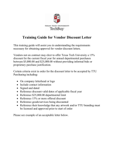 Training Guide for Vendor Discount Letter