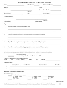 RECREATIONAL SPORTS CLASS INSTRUCTOR APPLICATION  Name:________________________________ Classification:__________