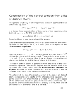 Construction of the general solution from a list of distinct atoms.