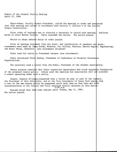 Report of the General Faculty Meeting April 27, 1984