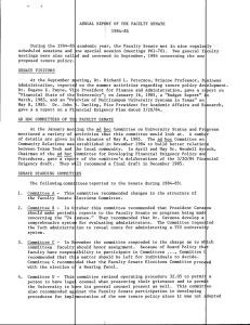 ANNUAL REPORT OF THE FACULTY SENATE 1984-85