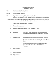 Faculty Senate Agenda January 31, 2011 Agenda for meeting #303,