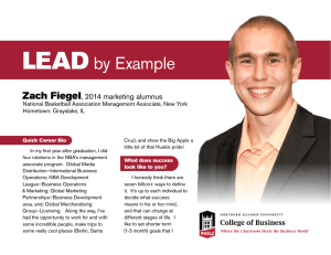 LEAD by Example Zach Fiegel , 2014 marketing alumnus