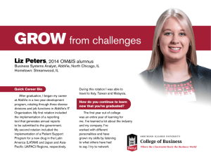 GROW from challenges Liz Peters , 2014 OM&IS alumnus