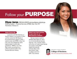 PURPOSE Follow your Elyse Jares , 2014 & 2015 accountancy alumnus