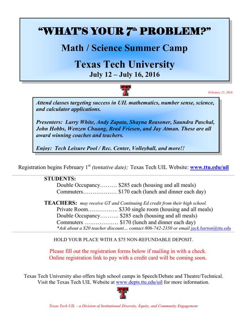 Texas Tech Online High School >> Texas Tech University What S Your 7 Problem Math
