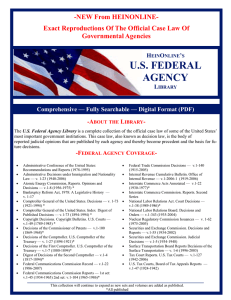 U.S. FEDERAL AGENCY -NEW From HEINONLINE-