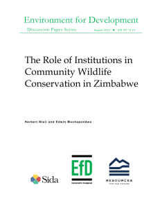 Environment for Development The Role of Institutions in Community Wildlife Conservation in Zimbabwe