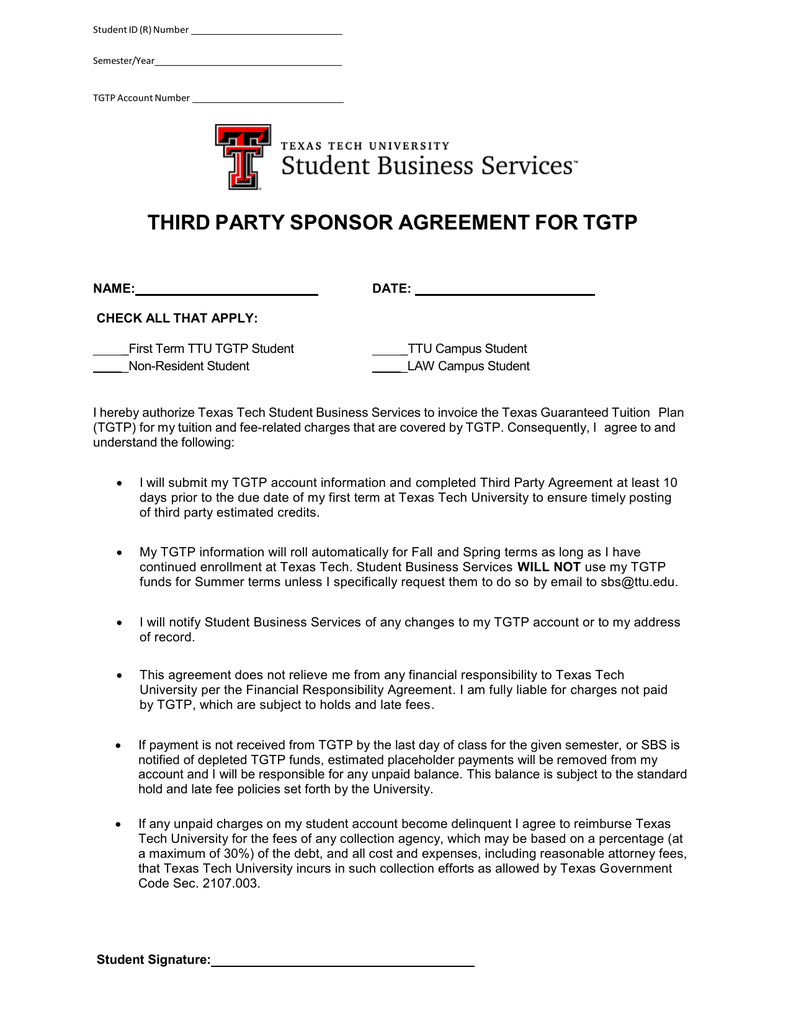 Third Party Sponsor Agreement For Tgtp