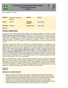 Technology & Development Status Report Program Engineering